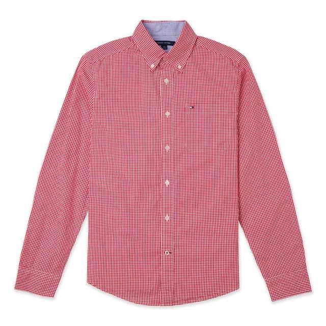 【Tommy Hilfiger】TOMMY 經典刺繡Logo長袖襯衫-紅白格紋色