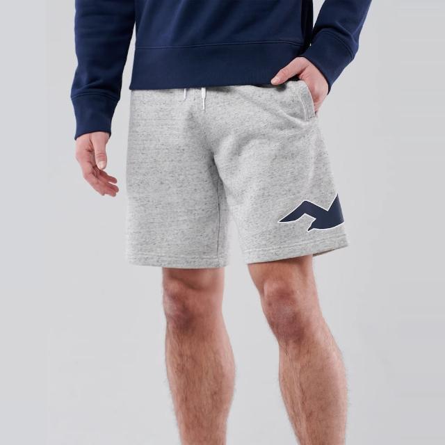 【HOLLISTER Co】Hollister 經典印刷大海鷗棉短褲-灰色