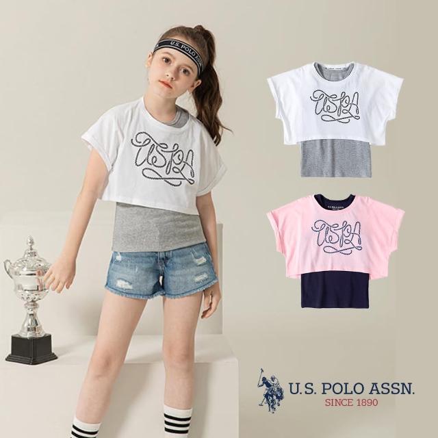 【U.S. POLO ASSN.】女童兩件套T恤-兩色(熱銷經典)