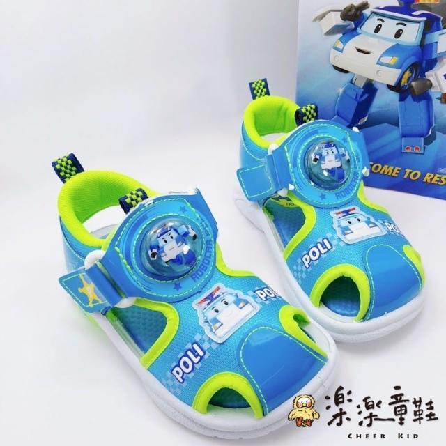 【樂樂童鞋】台灣製POLI安寶電燈涼鞋-藍色-P053-1(女童鞋 男童鞋 涼鞋 大童鞋)