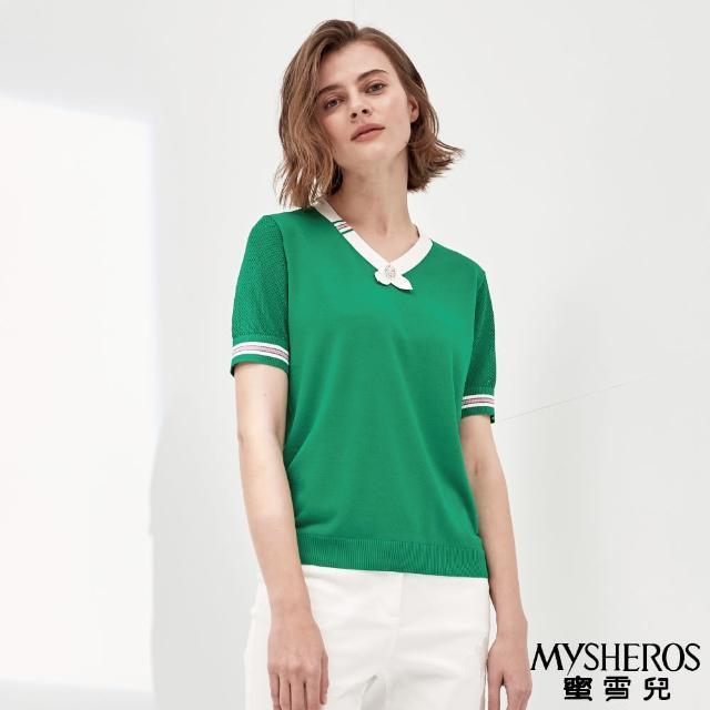 【MYSHEROS 蜜雪兒】鑽領別撞色邊條針織上衣(綠)