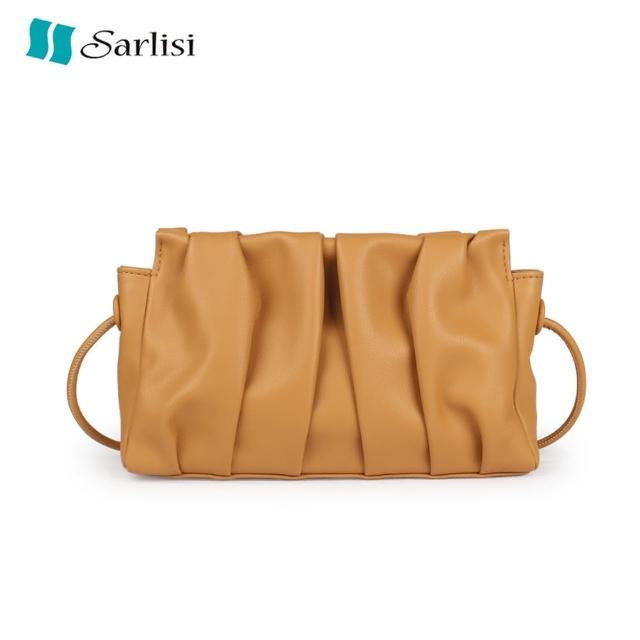 【Sarlisi】小眾包包斜背包質感軟皮女包頭層牛皮褶皺包雲朵包女夏高級感腋下包