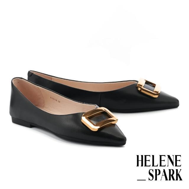【HELENE SPARK】都會金屬大方釦全真皮尖頭平底鞋(黑)