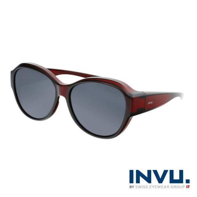 【INVU】瑞士經典小臉圓框套鏡式偏光太陽眼鏡(酒紅 E2100E)
