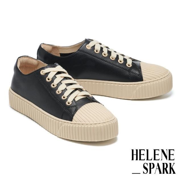 【HELENE SPARK】率性日常全真皮綁帶線感厚底休閒鞋(黑)