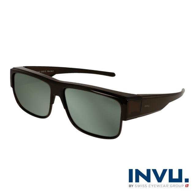 【INVU】瑞士經典方框套鏡式偏光太陽眼鏡(深咖 E2001D)