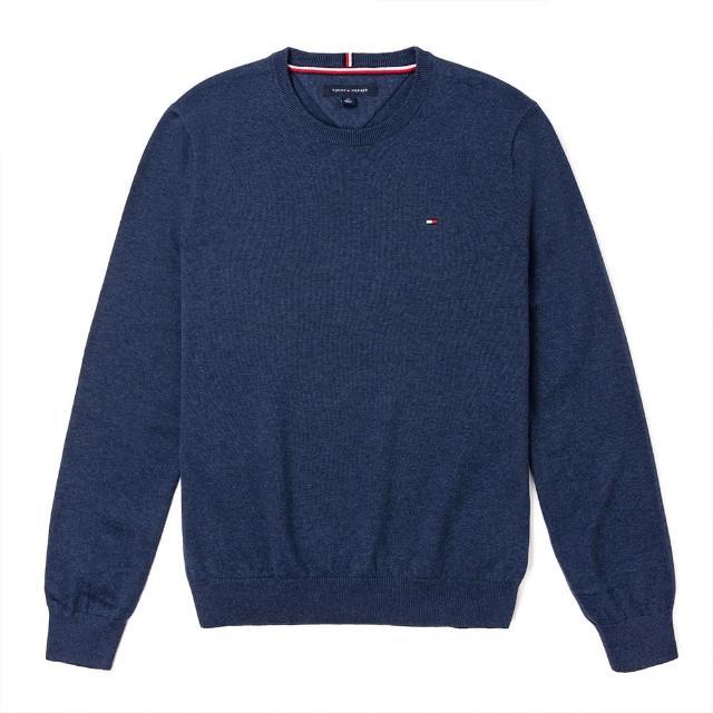 【Tommy Hilfiger】TOMMY 經典圓領Logo毛衣-麻花深藍色
