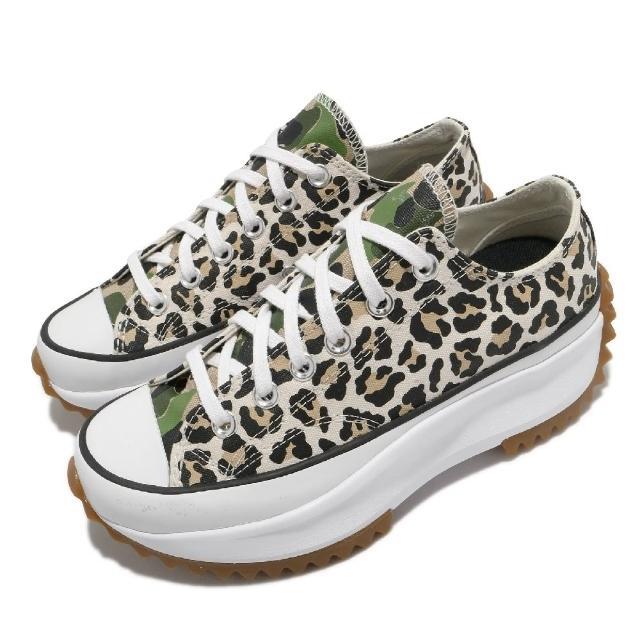 【CONVERSE】休閒鞋 Run Star Hike 穿搭 女鞋 厚底 舒適 帆布 豹紋 迷彩 穿搭 米白 白(170912C)