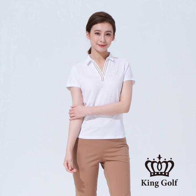 【KING GOLF】女款煙火印圖背面撞色織帶短袖POLO衫(白色)
