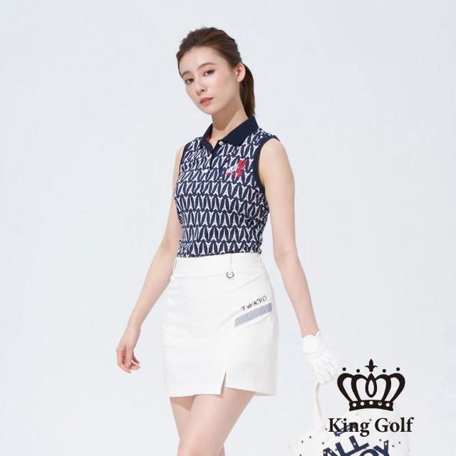 【KING GOLF】女款巴黎鐵塔滿版印圖法國風刺繡背心POLO衫(丈青)
