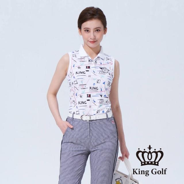 【KING GOLF】女款塗鴉風印圖徽章刺繡背心POLO衫(白色)