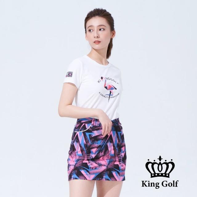 【KING GOLF】女款趣味火鶴印圖造型上衣(白色)