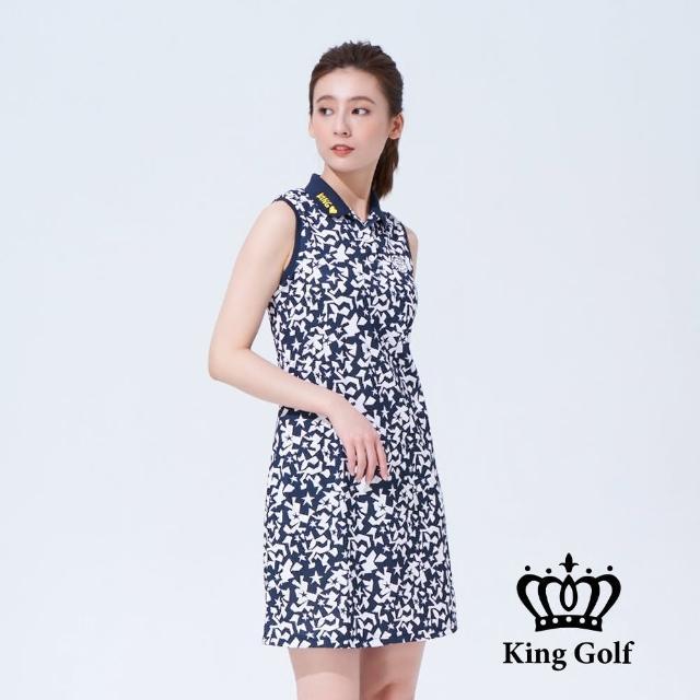 【KING GOLF】女款幾何塗鴉印圖LOGO刺繡收腰背心連身裙(丈青)