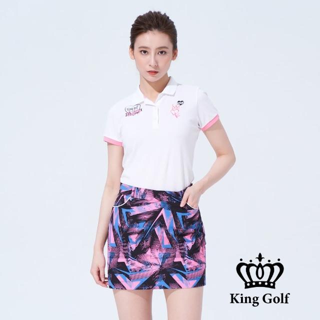 【KING GOLF】女款趣味火鶴印圖刺繡短袖POLO衫(白色)