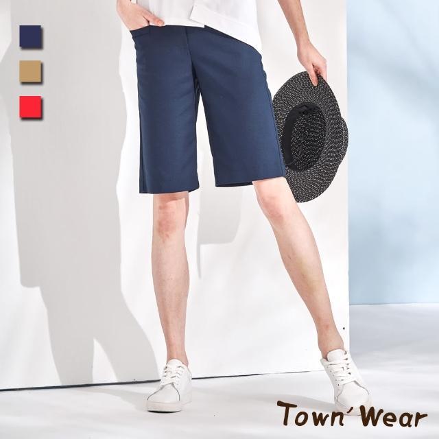 【TOWN'WEAR 棠葳】休閒純色棉質修身五分褲 3色
