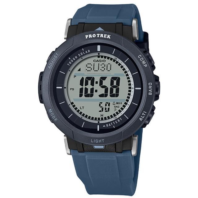 【CASIO 卡西歐】PRO TREK 太陽能 戶外登山系列 三重傳感器 防水100米 矽膠手錶 黑藍色 43mm(PRG-30-2)