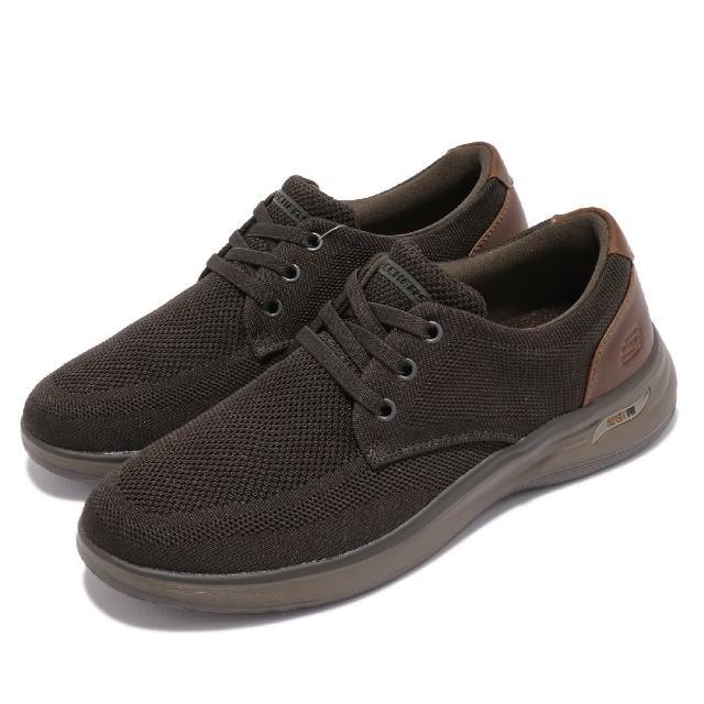 【SKECHERS】休閒鞋 Arch Fit Darlo 牛津鞋型 男鞋 專利鞋墊 支撐 舒適 緩衝 回彈 綠 棕(204463OLBR)