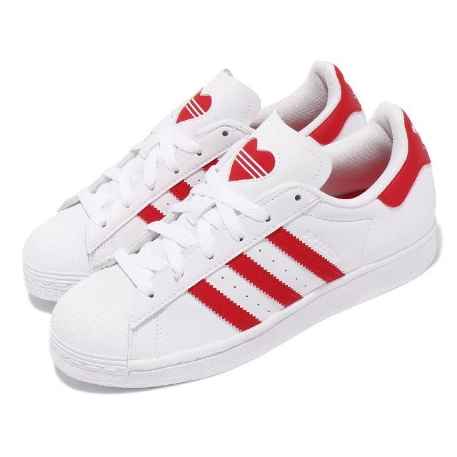 【adidas 愛迪達】休閒鞋 Superstar J 運動 女鞋 海外限定 愛迪達 貝殼頭 舒適 穿搭 白 紅(FY2569)