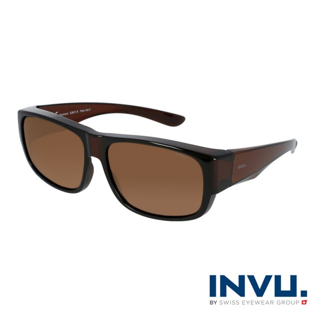 【INVU】瑞士舒適個性套鏡式偏光太陽眼鏡(棕 E2601B)