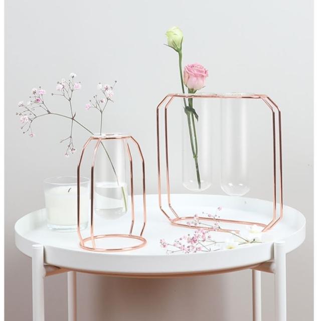 【JEN】北歐風幾何金屬透明玻璃花瓶花器花架桌面擺飾居家裝飾(小款一入)