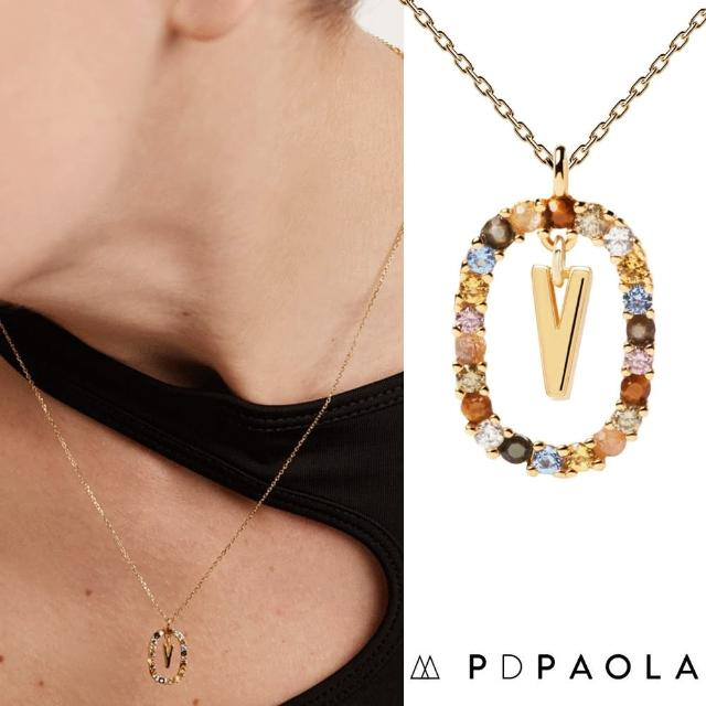 【PD PAOLA】西班牙時尚潮牌 金色V字母項鍊 彩寶橢圓形項鍊 925純銀鑲18K金(925純銀鑲18K金)