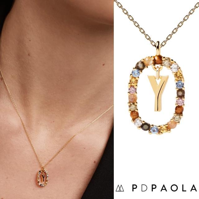【PD PAOLA】西班牙時尚潮牌 金色Y字母項鍊 彩寶橢圓形項鍊 925純銀鑲18K金(925純銀鑲18K金)