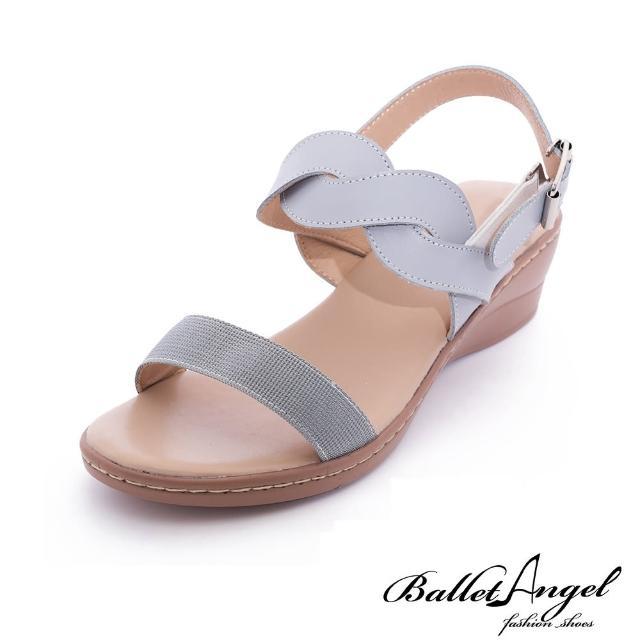 【BalletAngel】涼鞋 粉彩夏日一字編織楔型涼鞋(藍)