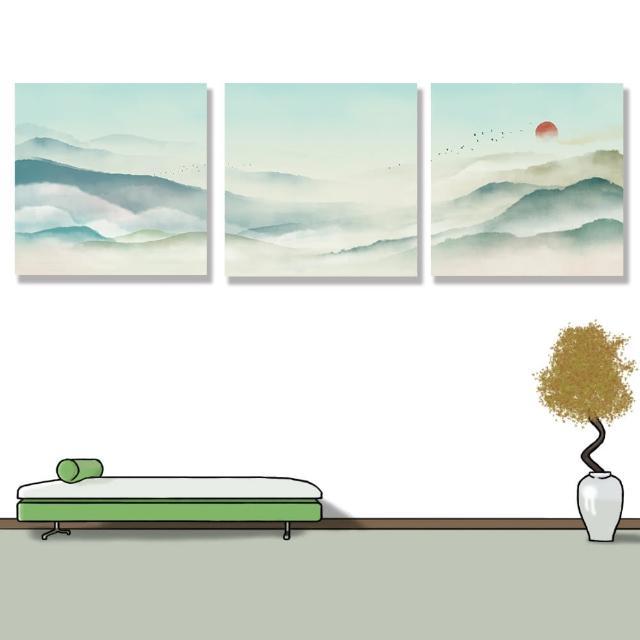 【24mama 掛畫】三聯式 油畫布 古典 風景 仙境 溫和 平緩 太陽 鳥 動物 無框畫 時鐘掛畫-40x40cm(水墨山水)