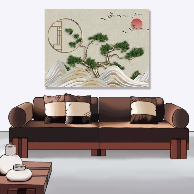 【24mama 掛畫】單聯式 油畫布 日落 彎曲的松樹 樹 植物 鳥 動物 水 夕陽 無框畫-80x60cm(抽象波浪山)