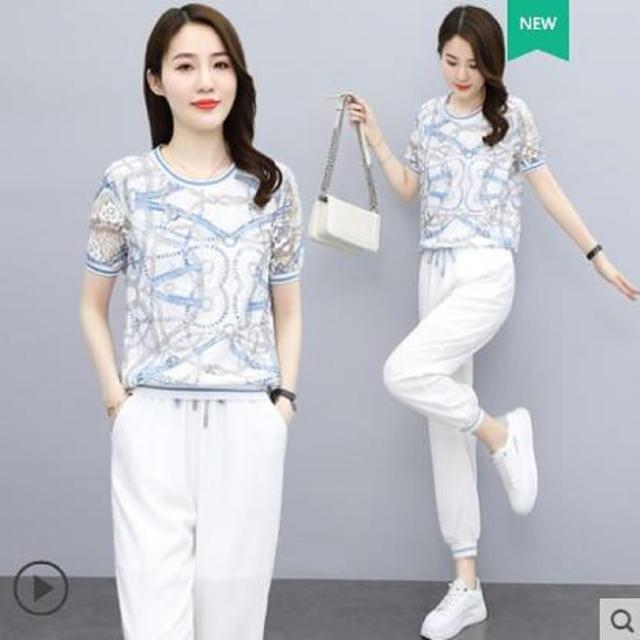【Jimmy&Wang】雪紡藍調上衣套裝2件組
