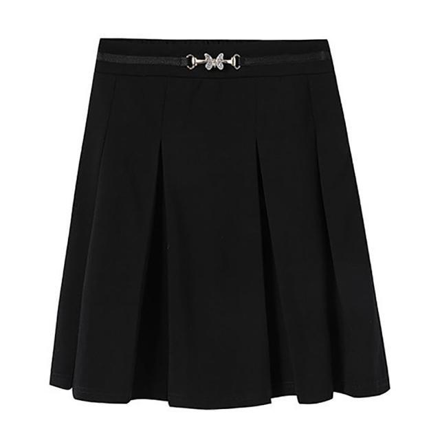【麗質達人】6397黑色百摺短裙(L-5XL)