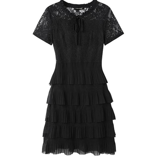 【麗質達人】91103蕾絲多層次裙擺洋裝(L-5XL)