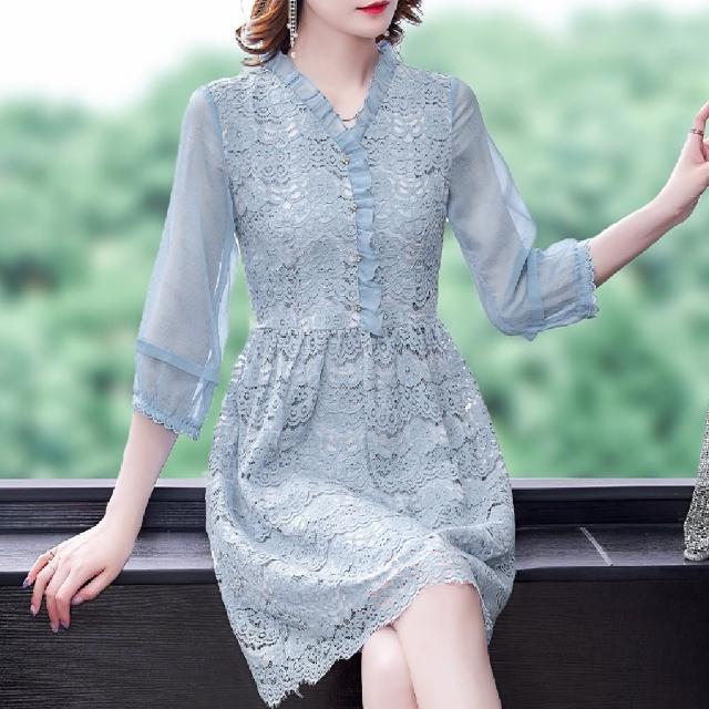 【ALICAI 艾麗彩】淺藍蓮花鉤花睫毛蕾絲v領七分袖洋裝(S-2XL)
