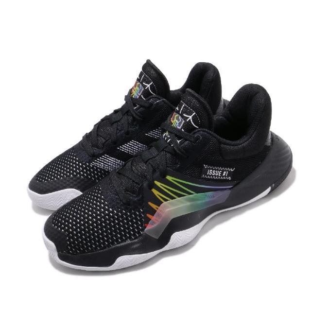【adidas 愛迪達】籃球鞋 D.O.N. Issue 1 運動 女鞋 愛迪達 蜘蛛人 明星 彩虹 漸層 大童 黑 彩(EG6566)