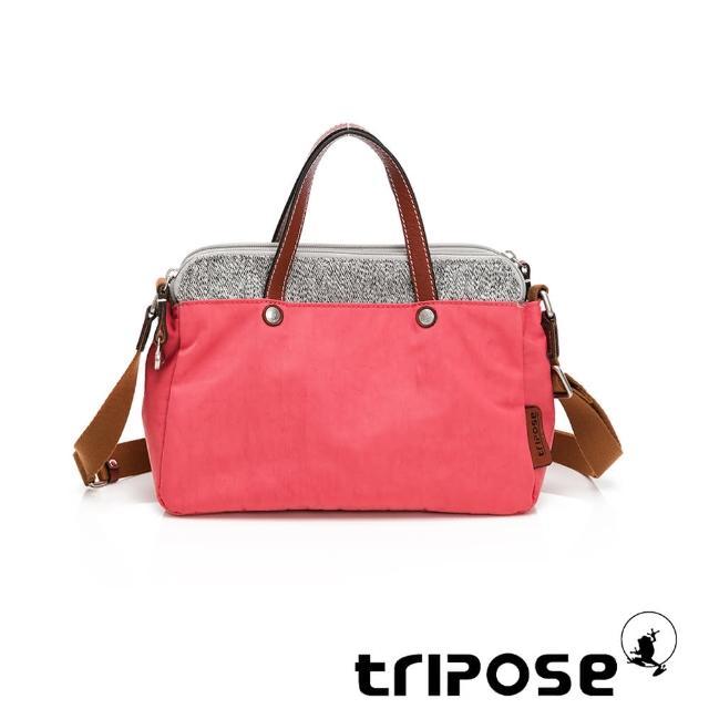 【tripose】漫遊系列岩紋雙拉鍊手提斜背包(晨曦紅)