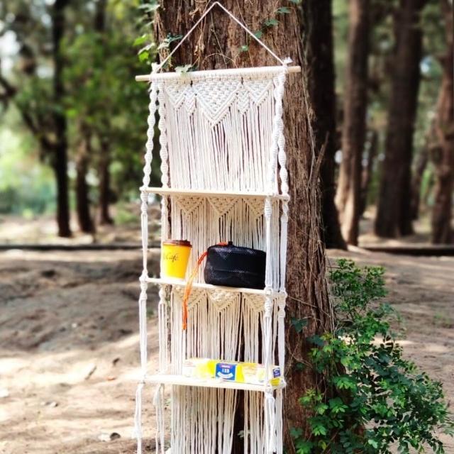 【May shop】波西米亞手工編織多用途層架掛毯置物架