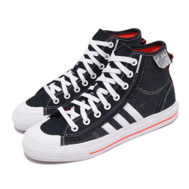 【adidas 愛迪達】休閒鞋 Nizza Hi RF 運動 男女鞋 海外限定 牛仔布 舒適 簡約 情侶穿搭 藍 白(H67835)