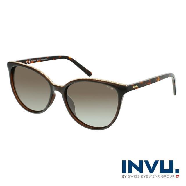【INVU】來自瑞士金飾貓眼偏光太陽眼鏡(琥珀 Z2106B)