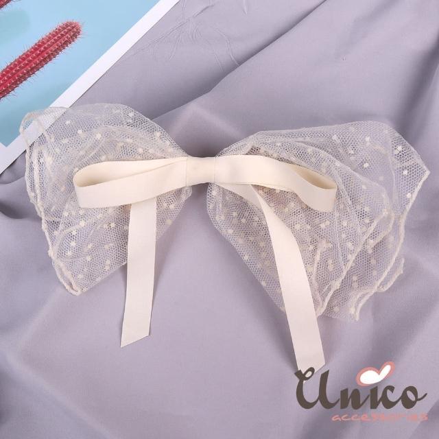 【UNICO】婚禮新娘甜美蕾絲大蝴蝶大髮夾(飾品/配件/婚禮/甜美蕾絲/大蝴蝶)