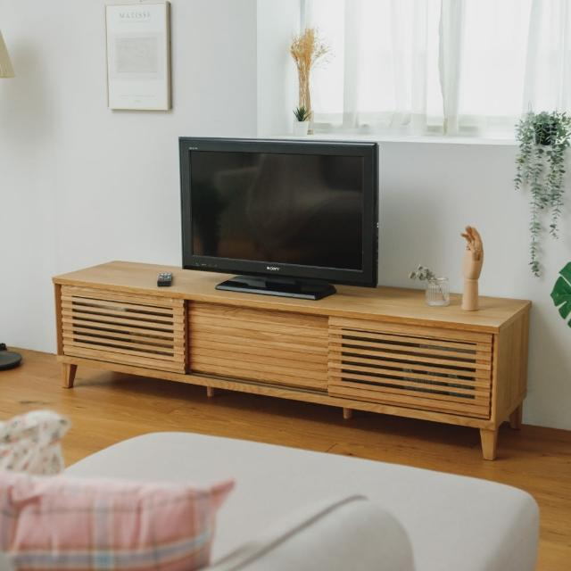 【PEACHY LIFE 完美主義】日系經典實木推門電視櫃180cm/6尺