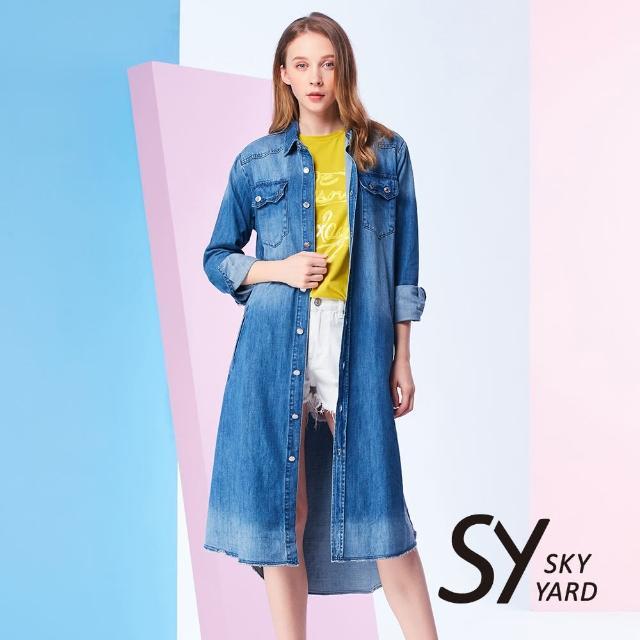 【SKY YARD】開襟純棉牛仔寬鬆長版襯衫(藍色)
