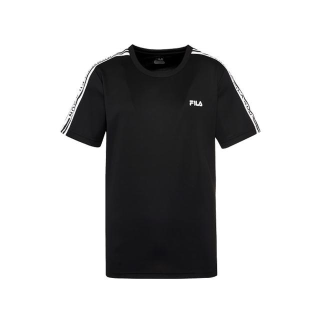 【FILA】短袖上衣 吸排 男抗UV吸濕排汗T恤-黑色(1TEV-1304-BK)
