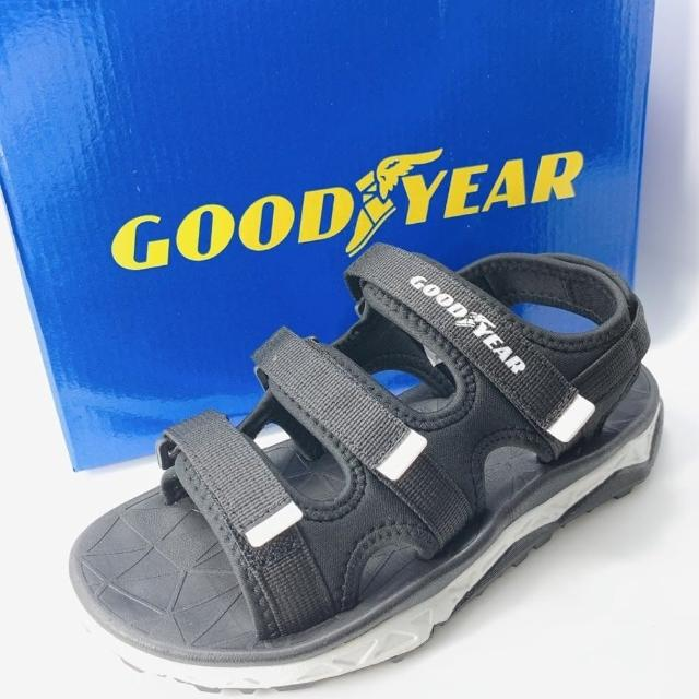 【樂樂童鞋】GOODYEAR女款彈力運動涼鞋-黑色-G012-1(女童鞋 涼鞋 大童鞋 沙灘鞋)