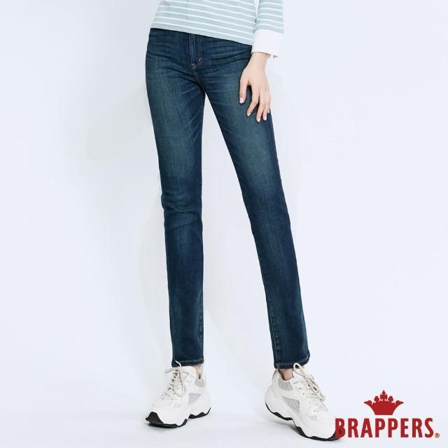 【BRAPPERS】女款 簡約中腰彈性窄管褲(深藍)