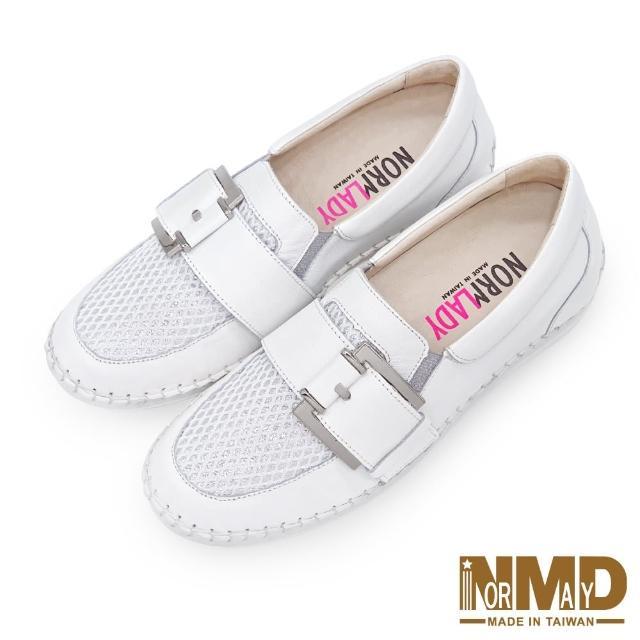 【Normady 諾曼地】休閒鞋 懶人鞋 小白鞋 MIT台灣製 真皮鞋 金屬方釦磁石厚底內增高氣墊球囊鞋(人氣白)