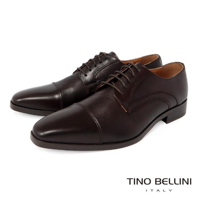 【TINO BELLINI 貝里尼】男款 歐洲進口牛皮橫飾繫帶德比紳士鞋H2T0011-9(咖啡)