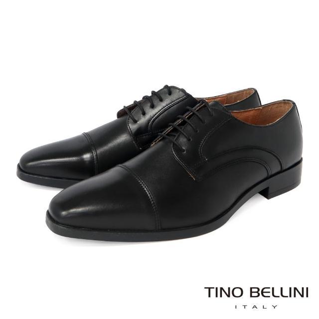 【TINO BELLINI 貝里尼】男款 歐洲進口牛皮橫飾繫帶德比紳士鞋H2T0011-1(黑)