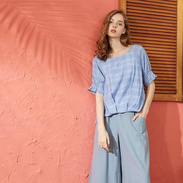 【CUMAR】抽皺設計格紋-女短袖襯衫(二色/版型適中)