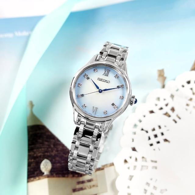 【SEIKO 精工】限量款 140週年紀念 珍珠母貝 真鑽 不鏽鋼手錶 漸層藍色 29mm(7N01-0KV0S.SRZ539P1)