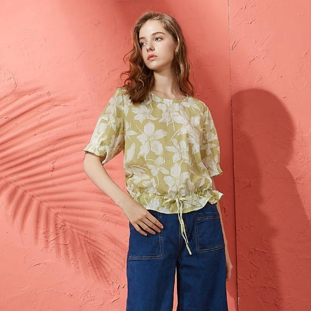 【CUMAR】抽皺泡泡袖印花-女短袖襯衫(二色/版型適中)